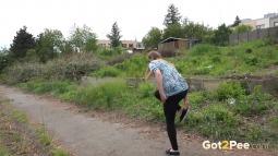 Black Leggings Peeing Jogger screen cap #17