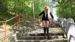 Blonde on Steps screen cap #18