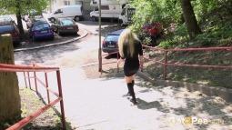 Blonde on Steps screen cap #20