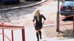 Blonde on Steps screen cap #21
