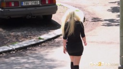 Blonde on Steps screen cap #22