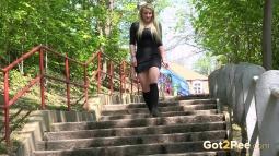 Blonde on Steps screen cap #4