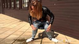 Squatting in Jeans screen cap #12