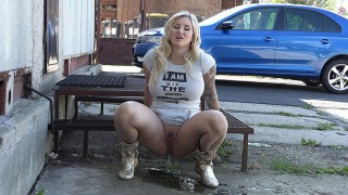 Pee Video Big Boobed Blonde Pissing