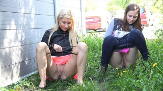 Pee Video Blonde and Brunette
