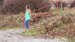 Blue Leggings Waterfall screen cap #3