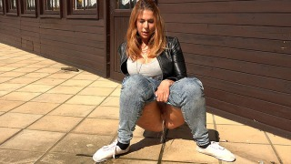 Pee Video Squatting in Jeans