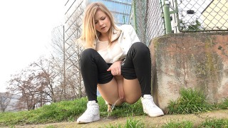 Pee Video Squatting in Trainers